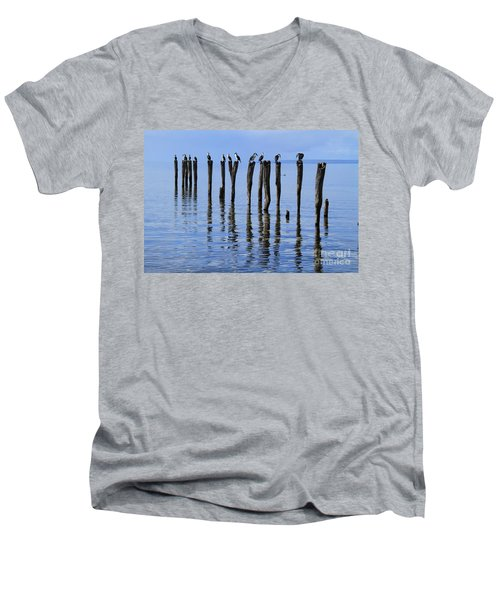 Men's V-Neck T-Shirt featuring the photograph Quay Rest by Stephen Mitchell