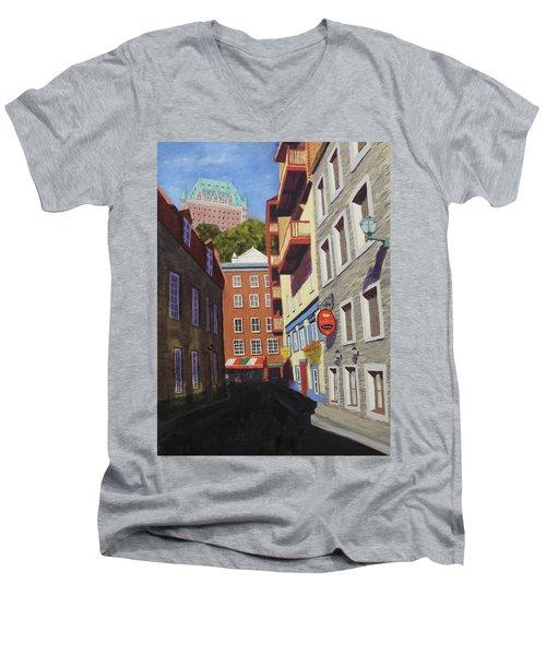 Quebec City Side Street Men's V-Neck T-Shirt by Alan Mager
