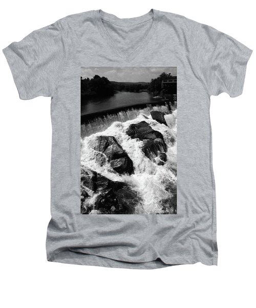 Men's V-Neck T-Shirt featuring the photograph Quechee, Vermont - Falls 2 Bw by Frank Romeo