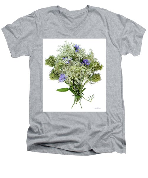 Queen Anne's Lace With Purple Flowers Men's V-Neck T-Shirt by Lise Winne