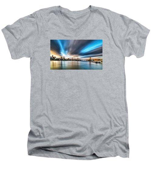 Men's V-Neck T-Shirt featuring the photograph Queensboro Bridge by Rafael Quirindongo