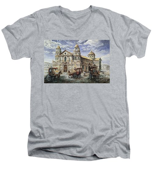 Men's V-Neck T-Shirt featuring the painting Quiapo Church 1900s by Joey Agbayani