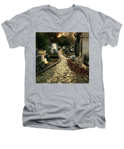 Pere Lachais Cemetery Road Men's V-Neck T-Shirt by Katie Wing Vigil