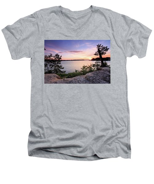Men's V-Neck T-Shirt featuring the photograph Quiet Sunset by Jennifer Casey