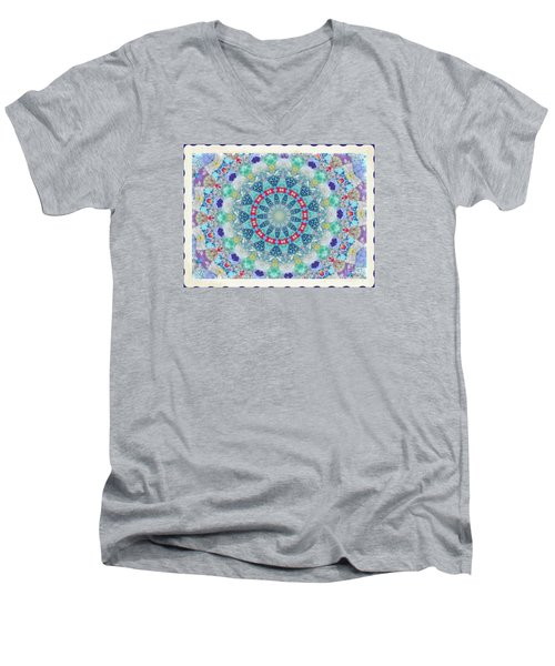 Men's V-Neck T-Shirt featuring the photograph Quilted Color  Wheel by Shirley Moravec