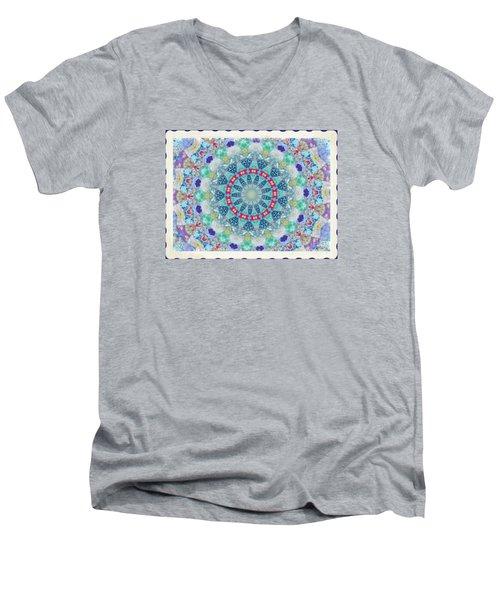 Quilted Color  Wheel Men's V-Neck T-Shirt by Shirley Moravec