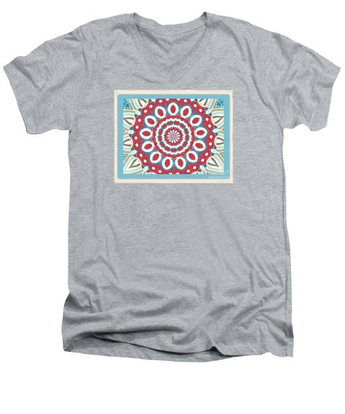 Men's V-Neck T-Shirt featuring the photograph Quilted Red White Circles by Shirley Moravec