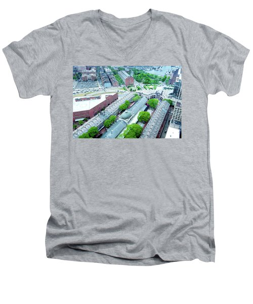 Men's V-Neck T-Shirt featuring the photograph Quincy And Columbus by Greg Fortier