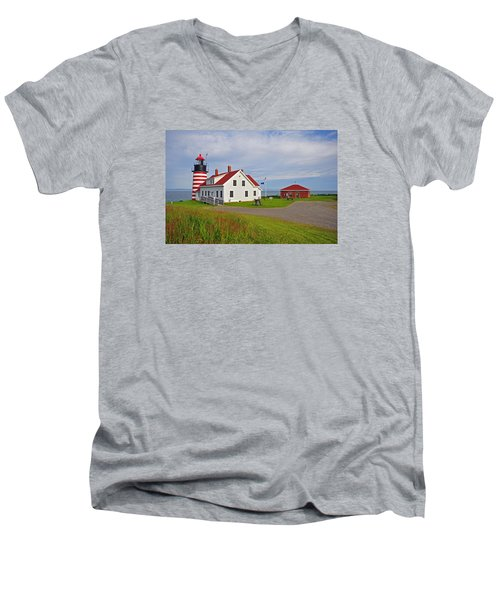 Quoddy Head Lighthouse Men's V-Neck T-Shirt