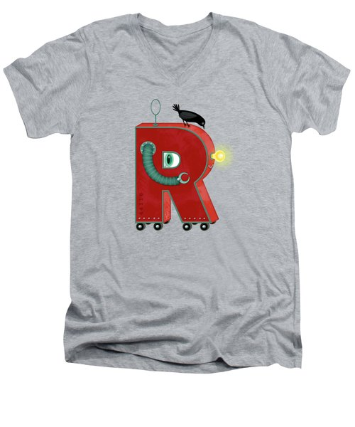 R Is For Robot Men's V-Neck T-Shirt by Valerie Drake Lesiak