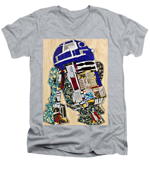 Men's V-Neck T-Shirt featuring the tapestry - textile R2-d2 Star Wars Afrofuturist Collection by Apanaki Temitayo M