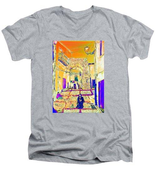 Men's V-Neck T-Shirt featuring the painting Rabato  by Loredana Messina
