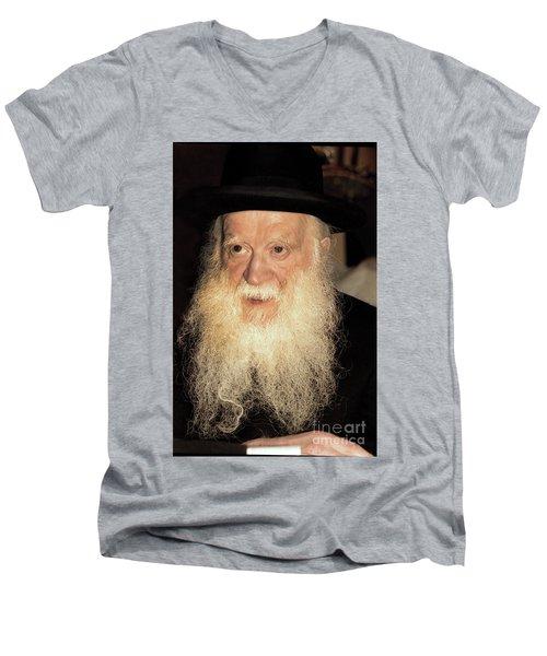 Men's V-Neck T-Shirt featuring the photograph Rabbi Yehudah Zev Segal by Doc Braham