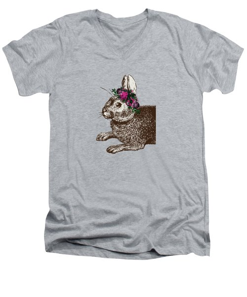 Rabbit And Roses Men's V-Neck T-Shirt by Eclectic at HeART