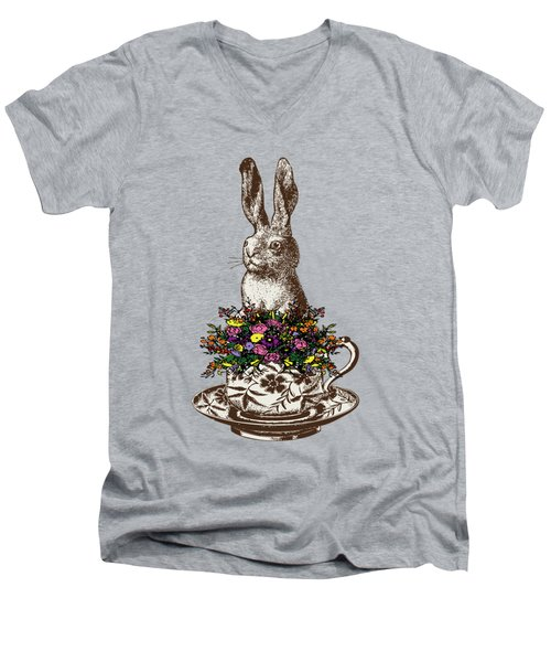 Rabbit In A Teacup Men's V-Neck T-Shirt by Eclectic at HeART