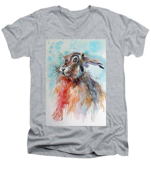 Rabbit Men's V-Neck T-Shirt by Kovacs Anna Brigitta