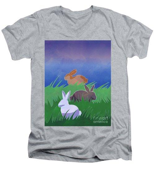 Rabbits Rabbits Rabbits Men's V-Neck T-Shirt by Whitney Morton