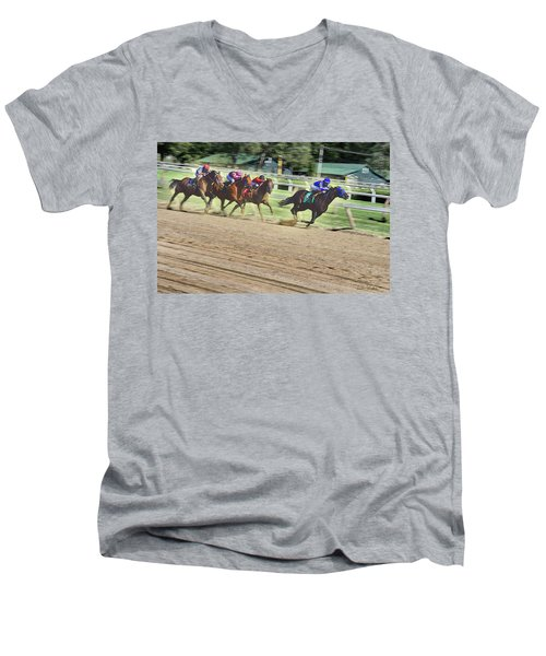 Race Horses In Motion Men's V-Neck T-Shirt by Lise Winne