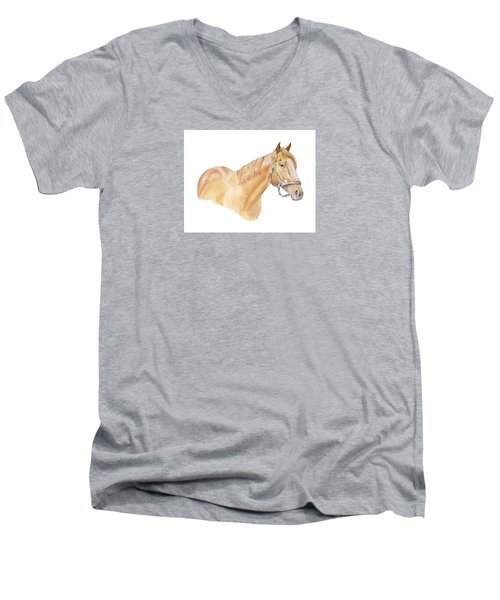 Men's V-Neck T-Shirt featuring the painting Racehorse by Elizabeth Lock