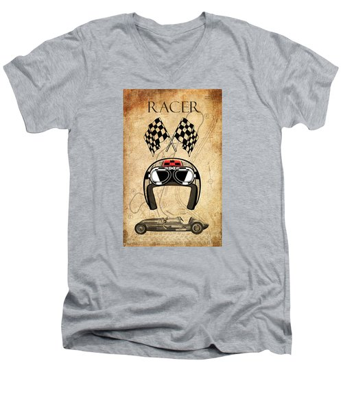Racer Men's V-Neck T-Shirt by Greg Sharpe