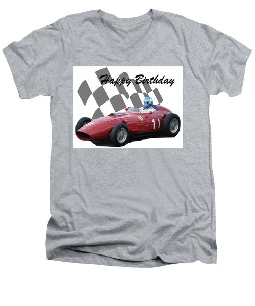 Racing Car Birthday Card 2 Men's V-Neck T-Shirt by John Colley