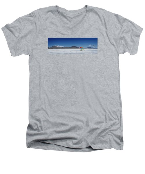 Racing On The Bonneville Salt Flats Men's V-Neck T-Shirt