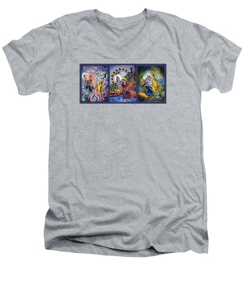 Radha Krishna Cosmic Leela Men's V-Neck T-Shirt by Harsh Malik