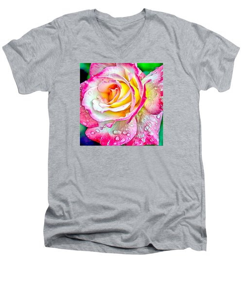 Radiant Rose Of Peace Men's V-Neck T-Shirt by Charmaine Zoe