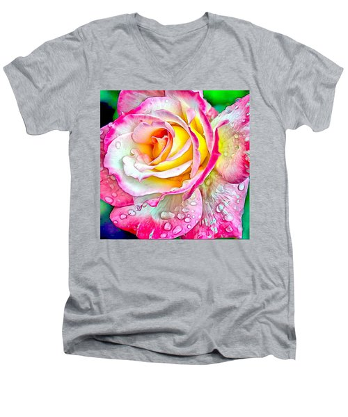 Radiant Rose Of Peace Men's V-Neck T-Shirt