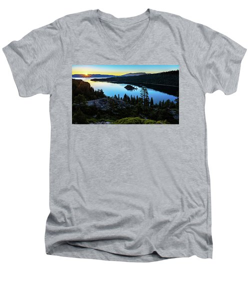 Radiant Sunrise On Emerald Bay Men's V-Neck T-Shirt