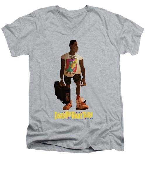 Men's V-Neck T-Shirt featuring the drawing Radio Raheem by Nelson Dedos Garcia