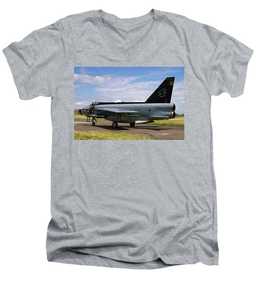 Raf English Electric Lightning F6 Men's V-Neck T-Shirt by Tim Beach