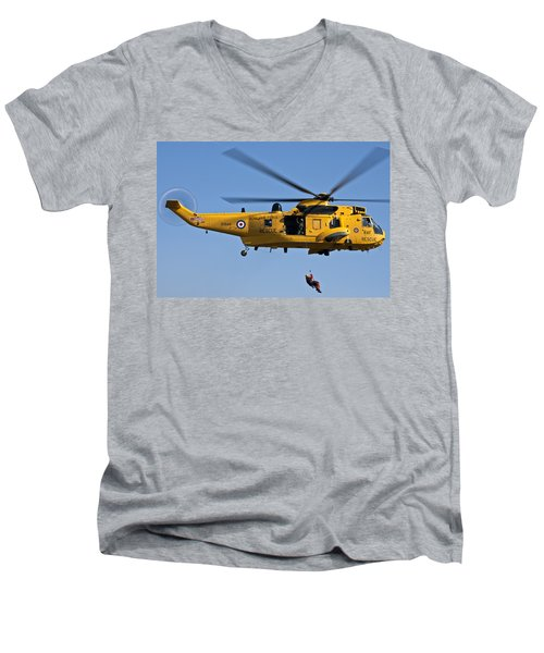 Raf Sea King Search And Rescue Helicopter 2 Men's V-Neck T-Shirt by Steve Purnell