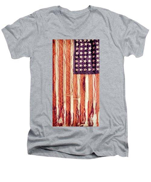 Men's V-Neck T-Shirt featuring the photograph Ragged American Flag by Jill Battaglia