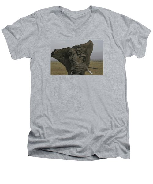 Men's V-Neck T-Shirt featuring the photograph Raging Bull by Gary Hall