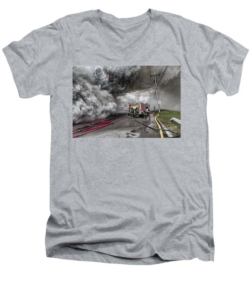 Men's V-Neck T-Shirt featuring the photograph Raging Inferno by Jim Lepard