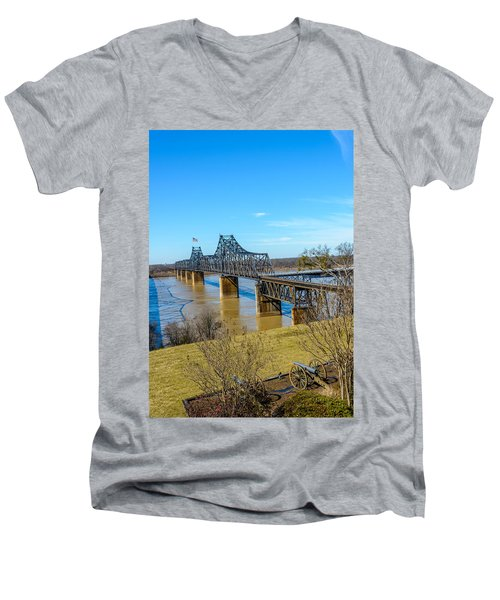 Men's V-Neck T-Shirt featuring the photograph Rail Road Bridge by Jerry Cahill