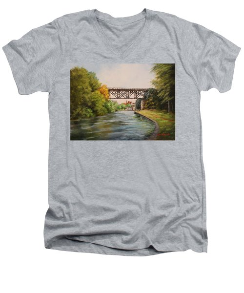 Railroad Bridge Over Erie Canal Men's V-Neck T-Shirt