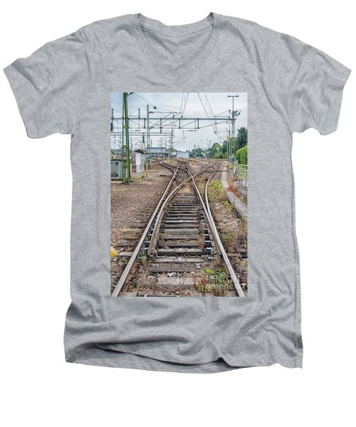 Men's V-Neck T-Shirt featuring the photograph Railroad Tracks And Junctions by Antony McAulay