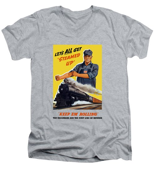 Railroads Are The First Line Of Defense Men's V-Neck T-Shirt