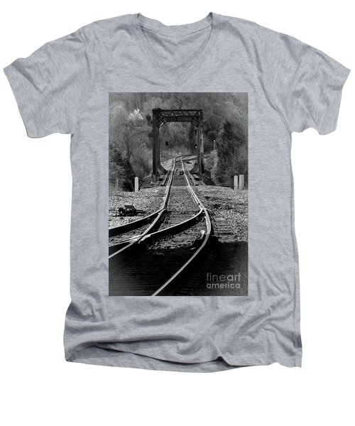 Men's V-Neck T-Shirt featuring the photograph Rails by Douglas Stucky