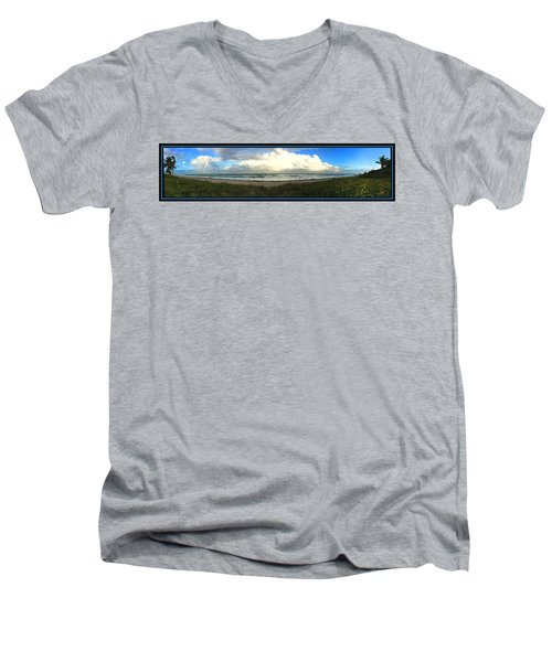 Men's V-Neck T-Shirt featuring the photograph Rain And A Bow by Steven Lebron Langston