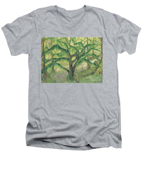 Rain Forest Washington State Men's V-Neck T-Shirt