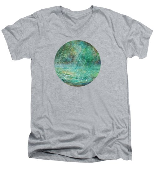 Men's V-Neck T-Shirt featuring the painting Rain On The Pond by Mary Wolf