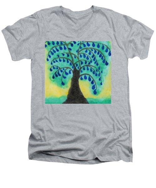 Rain Drop Umbrella Tree Men's V-Neck T-Shirt