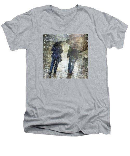 Rain Through The Fountain Men's V-Neck T-Shirt by LemonArt Photography