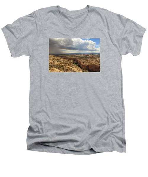 Men's V-Neck T-Shirt featuring the photograph Rain And Sun Over Calf Creek. by Johnny Adolphson