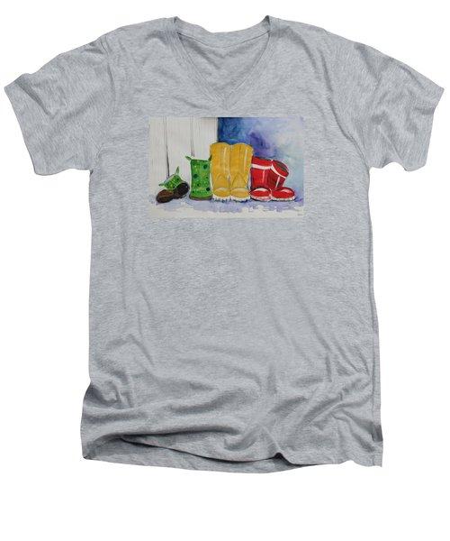 Rainboots Men's V-Neck T-Shirt by Terri Einer
