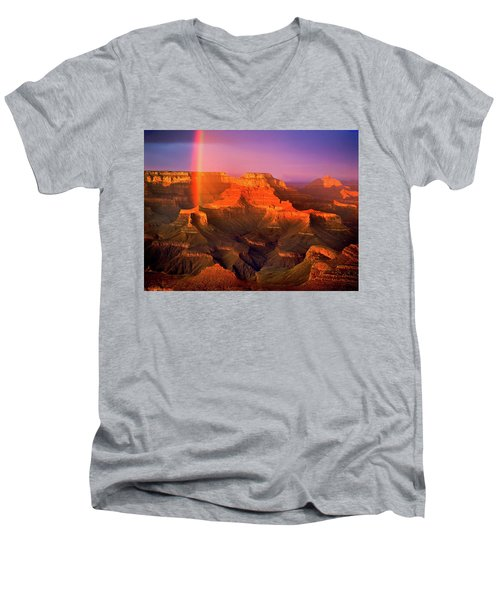 Rainbow At The Grand Canyon Men's V-Neck T-Shirt
