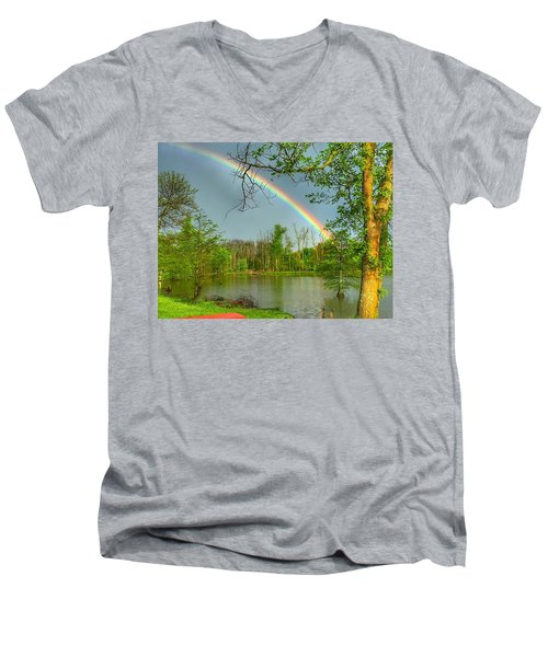 Men's V-Neck T-Shirt featuring the photograph Rainbow At The Lake by Sumoflam Photography